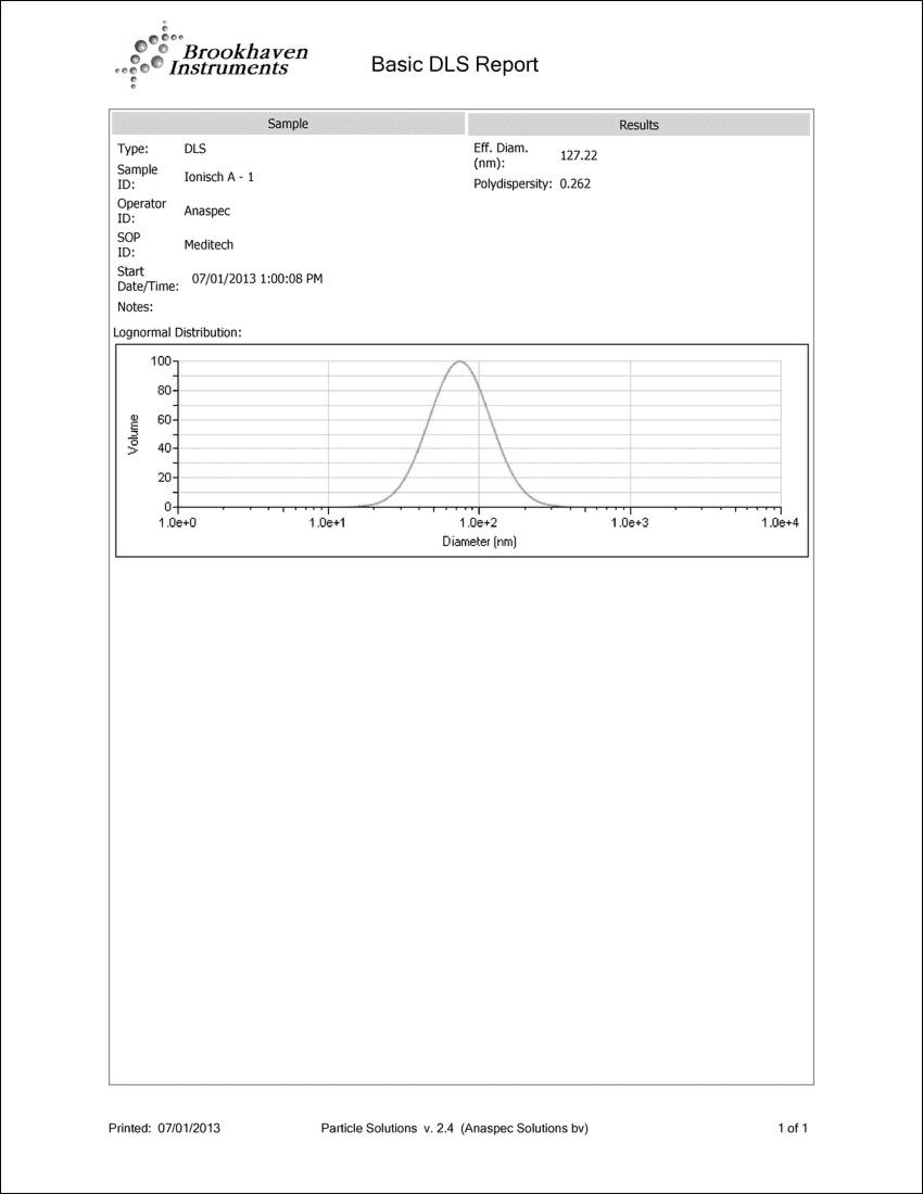 Analyse groote deeltjes Colloïdaal Zilver 10PPM